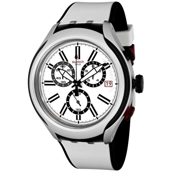 Swatch Men's YYS4005 Black Wheel Round White Silicone Strap Watch