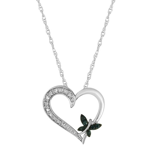 Sterling Silver 1/10ct TDW White and Blue Diamond Heart Butterfly Pendant