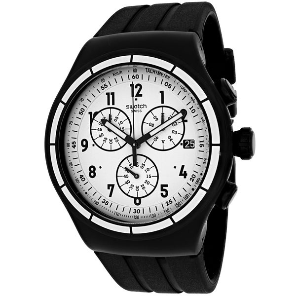 Swatch Men's YOB403 Chrono Again Round Black Rubber Strap Watch