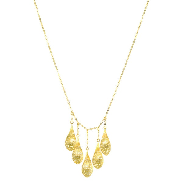 14 Karat Yellow Gold Mesh Drop Statement Necklace, 17 Inches