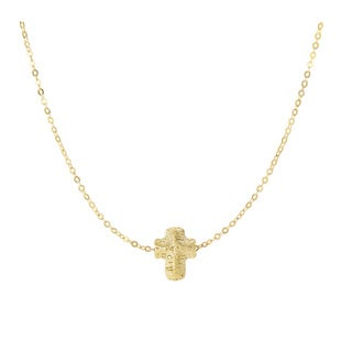 14 Karat Yellow Gold 19x19mm Mesh Cross Necklace, 17 Inches