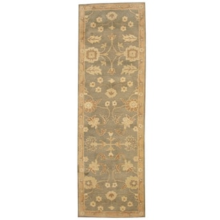 Herat Oriental Indo Hand-tufted Mahal Light Green/ Beige Wool Runner (2'6 x 8')