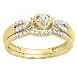 10k Gold 1/4ct TDW Round Diamond Heart Bridal Engagement Ring Matching Band Set (H-I, I1-I2)