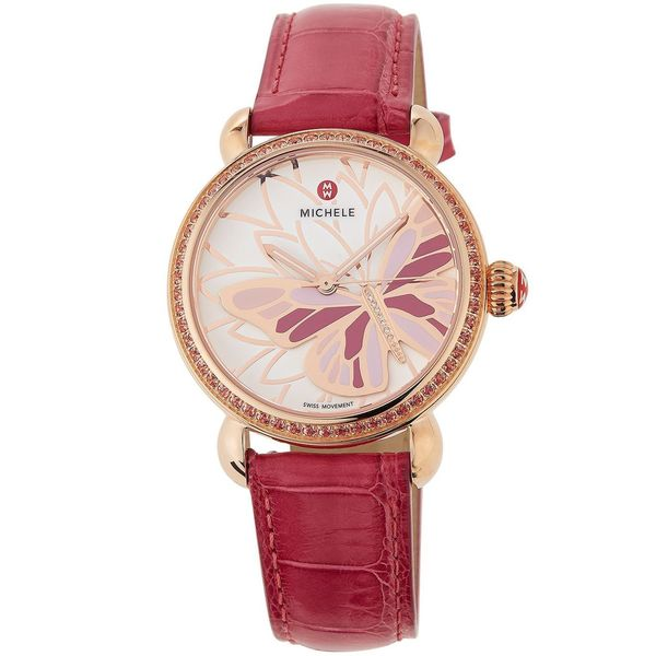 Michele Women's MWW05D000014 'CSX Garden Party' Butterfly Diamond Pink Leather Watch