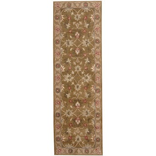 Herat Oriental Indo Hand-tufted Mahal Light Brown/ Ivory Wool Runner (2'6 x 8')