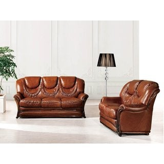 Luca Home Brown Sofa Bed and Loveseat Combo
