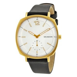 Skagen Women's SKW2404 Rungsted White Dial Black Leather Watch