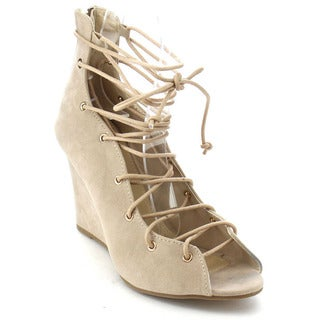 Beston DB49 Women's Lace Up Peep Toe Sandals