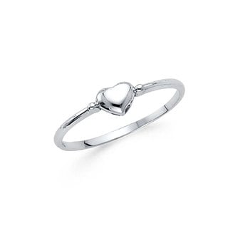 14k White Gold Small Heart-Shaped Ring
