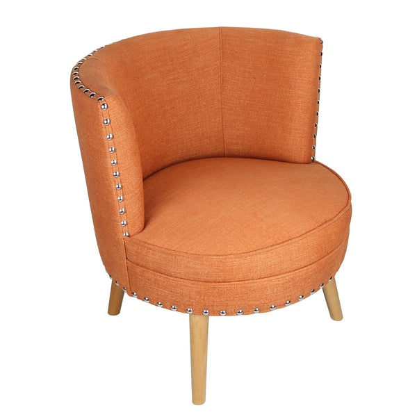 Adeco Fabric Round Leisure Chair for Living Dining Room With Four Legs