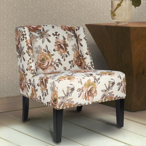 Adeco Printing Fabric Chair for Living Dining Room With Four Legs
