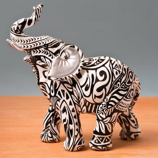 Standing Elephant With Boho Aztec Designj Accent Piece