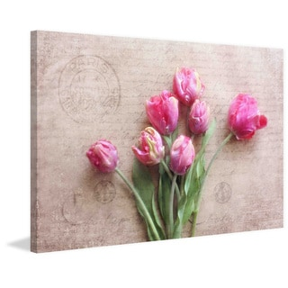 Marmont Hill - 'Pink Tulips' by Sylvia Cook Painting Print on Canvas