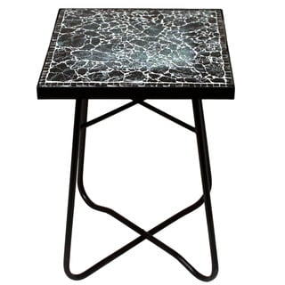 Black Mosaic Square Patio Side Accent Table