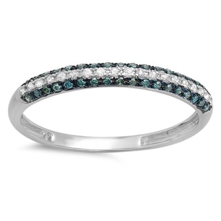 14k White Gold 1/4ct TDW Blue and White Diamond Pave Set Band Stackable Ring