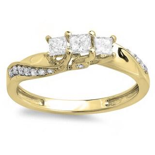 10k Yellow Gold 1/2ct TDW Princess and Round Diamond 3 Stone Swirl Engagement Bridal Ring (I-J, I1-I2)