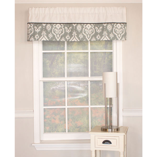 Raji Cool Grey Banded Cotton Valance