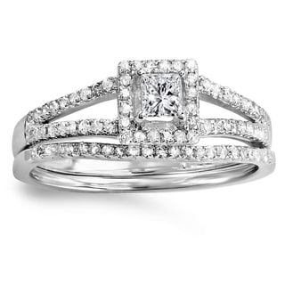 14k White Gold 1/2ct TDW Princess Halo Diamond Bridal Ring Set (I-J, I1-I2)