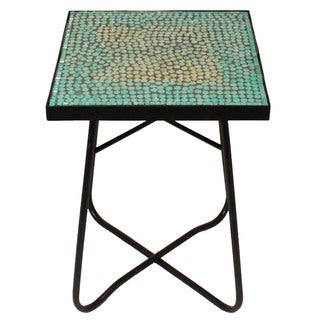 Turquoise Mosaic Square Patio Side Accent Table