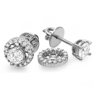 14k White Gold 1/4ct TDW Round Diamond Removable Jackets For Stud Earrings (I-J, I2-I3)