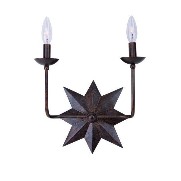 Crystorama Astro Collection 2-light English Bronze Wall Sconce