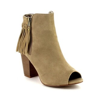 Beston DB47 Women's Stacked Heel Peep Toe Booties