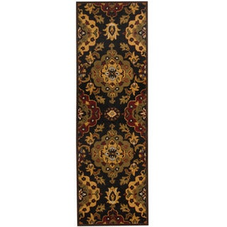 Herat Oriental Indo Hand-tufted Mahal Black/ Gold Wool Runner (2'6 x 8')