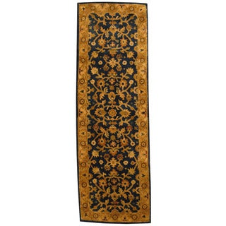 Herat Oriental Indo Hand-tufted Mahal Black/ Gold Wool Runner (2'6 x 8')