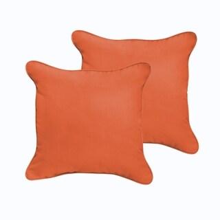 Sloane Mandarin Orange 18 x 18-inch Indoor/ Outdoor Corded Edge Pillow Set