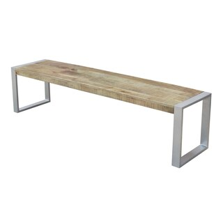 Timbergirl Reclaimed Wood Bench with Silver Metal Legs