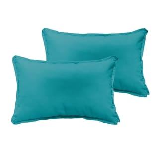Sloane Aqua Blue 13 x 20 inch Indoor/ Outdoor Flange Edge Pillow Set