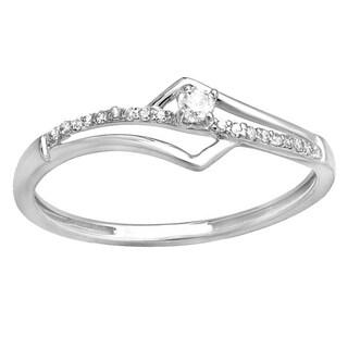 10k White Gold 1/10ct TDW Diamond Bridal Promise Ring (I-J, I2-I3)