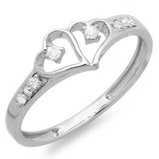 Sterling Silver 1/6ct TDW Diamond Promise Heart Ring (I-J, I2-I3)