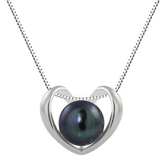 Sterling Silver Peacock Black Freshwater Cultured Round Button Pearl Heart Pendant Necklace