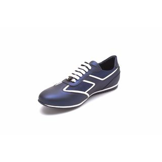 Versace Men's Metallic Blue Low Top Sneakers