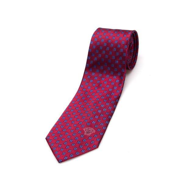 Versace Medusa Slim Red Blue Silk Tie