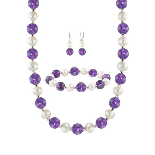 Sterling Silver Round 10-10.5mm Amethyst Beads and 8-8.5mm Freshwater Cultured White Pearl Necklace/ Bracelet and Earring Set