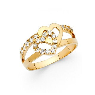 14k Yellow Gold Cubic Zirconia Interlocking Heart Ring