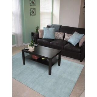 Granada Blue Solid Design Hand-woven Area Rug (9' x 12')
