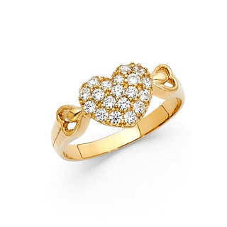14k Yellow Gold Cubic Zirconia Puffed Heart Ring