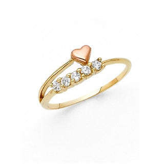 14k Two-tone Gold Cubic Zirconia Five-stone Floating Heart Ring
