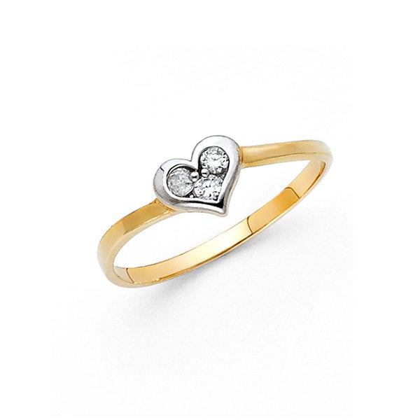 14k Two-tone Gold Cubic Zirconia Dainty Heart Ring