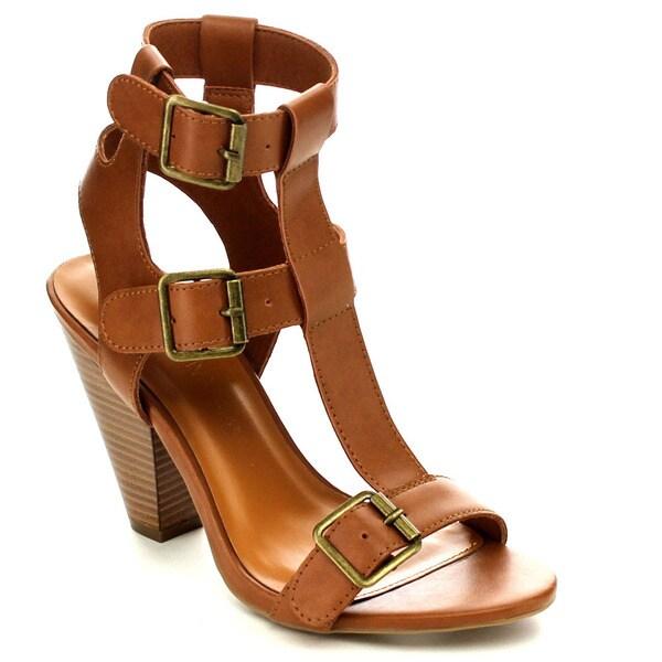 Wild Diva MINA-04 Women's Three Buckles Ankle Strap Sandals