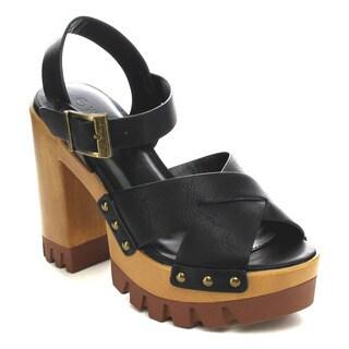 Wild Diva LESLIE-02 Women's Criss Cross Chunky Sandals