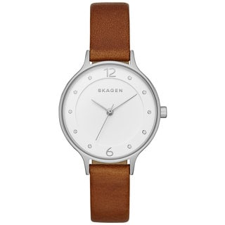 Skagen Women's SKW2399 Anita Crystal Accented Silver Dial Brown Leather Watch