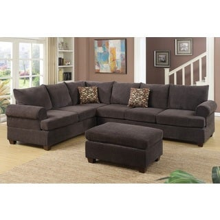 Grosseto Sectional with Ottoman Upholstered in Brown Chenille Fabric