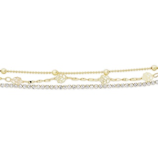 Dolce Giavonna Gold or Silvertone Cubic Zirconia Three Strand Bracelet