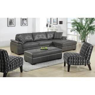 Paulina Grey Italian Leather Sectional Sofa 15442218