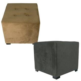 MJL Furniture Merton 4-Button Square Ennis Upholstered Ottoman