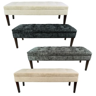 MJL Furniture Kaya Diamond Tufted Atlas Upholstered Long Bench